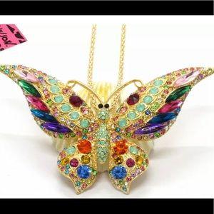 Stunning beautiful multi crystal butterfly pendat